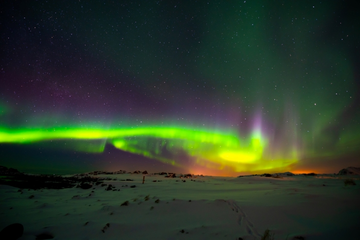 Polarlichter am Golfplatz Lofoten Links, Gimsøysand