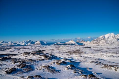 Blick auf Vestvågøy vom Plateau