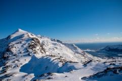 Aufstieg zum Justadtinden nicht weiter möglich, aufgrund der Schnee- und Eismassen