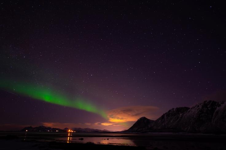Nordlichter am Strand