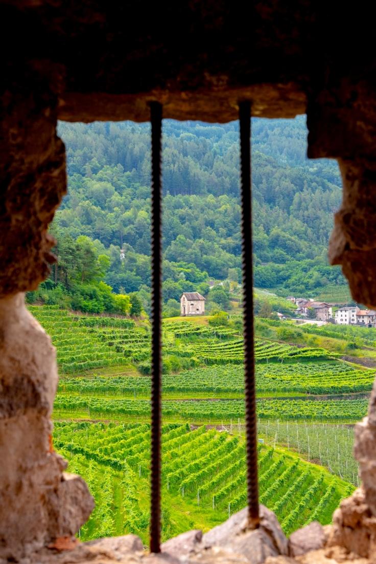 Blick von den Ruinen der Burg von Segonzano